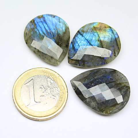 Deep Blue Fire Labradorite Faceted Pear Drop Pair, 25x20mm, SKU665/M - Jewels Exports