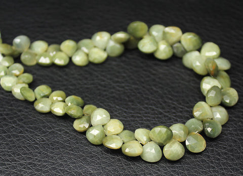 8 inches, 5-8mm, Natural Cat's Eye Faceted Heart Drops Briolette Beads Strand, SKU5683A - Jewels Exports - 1