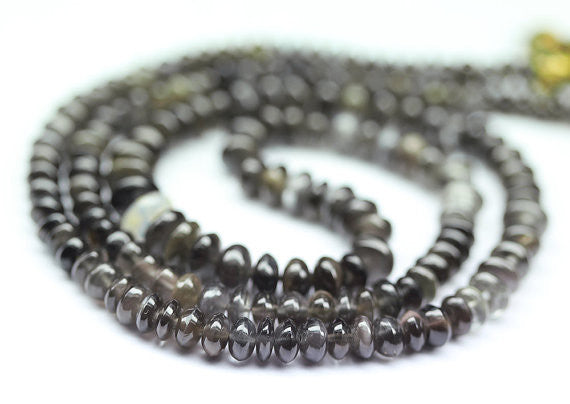 Black Cats Eye Smooth Rondelle Button Beads, 4-6mm, 4 inches, SKU1243AB - Jewels Exports - 1