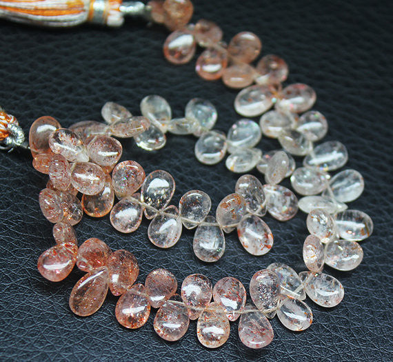 Natural Strawberry Fruit Quartz Smooth Pear Drop Bead, 7-11mm, 9 inches, SKU6288R - Jewels Exports