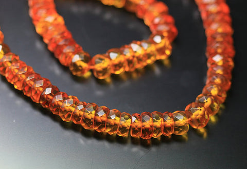 Poland Baltic AAA++ Amber Faceted Rondelle Beads, 7-9mm, 14 inches, SKU1069AB - Jewels Exports - 1