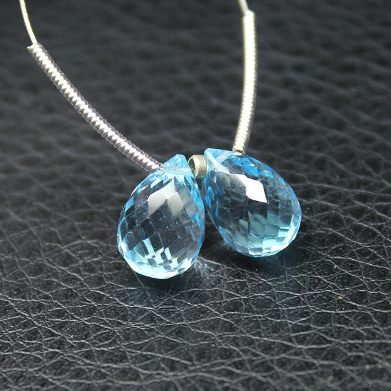 Bead, Blue Topaz (natural), 11.5mm hand-cut faceted tear drop, A grade, Mohs hardness 7, Sold per 1 pair SKU2114 - Jewels Exports
