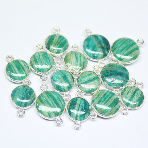 1 Pair, Amazonite.925 Sterling Silver Pear Connector Bezel Finding, 20mm, SKU7687R - Jewels Exports