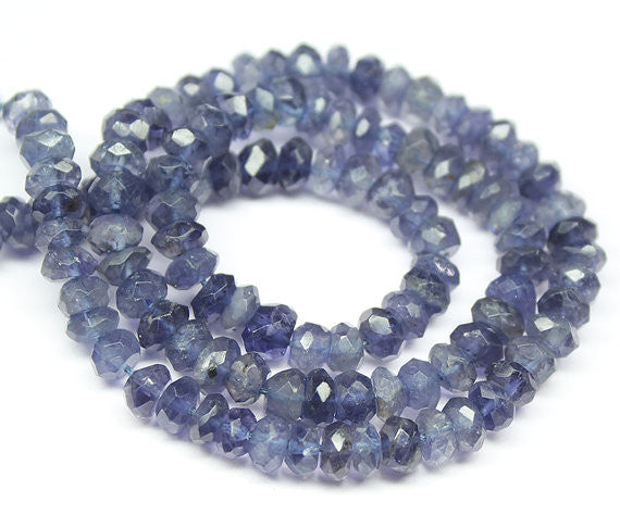 Iolite Water Sapphire Faceted Rondelle Beads Strand - 14inch - 3.5mm - Jewels Exports