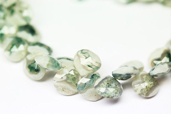 Bi Color Prehnite Faceted Long Pear Drop Beads, 30-49mm, 8 inches, SKU1337AB - Jewels Exports - 1