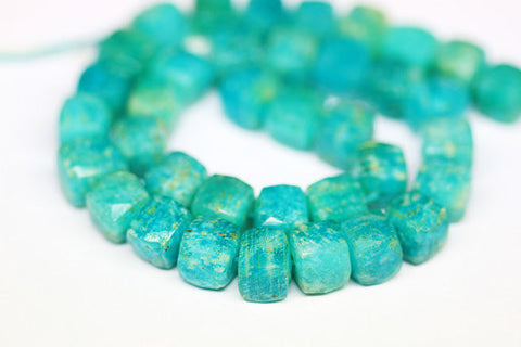 Amazonite Faceted Box Beads Strand, 7-8mm, 10inches, SKU1329AB - Jewels Exports - 1