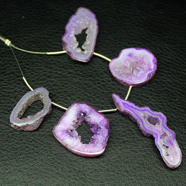 Purple Window Druzy Smooth Elongated Drops Beads, - Jewels Exports