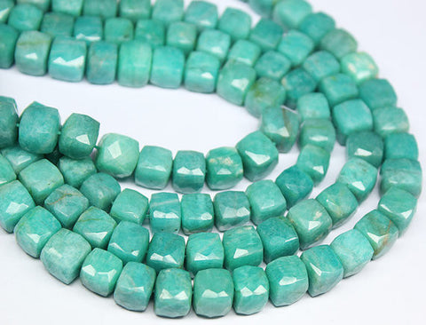 Amazonite Faceted 3D Cube Box Beads Strand, 8 inches, 7-8mm, SKU691/F - Jewels Exports - 1