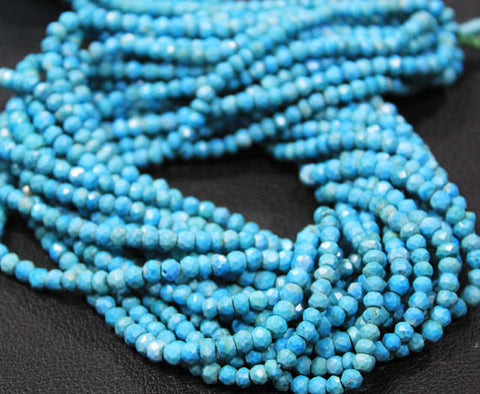 Arizona Turquoise (natural), 3mm hand-cut faceted Roundel, B grade, Sold per 13.5 inch strand SKU1872 - Jewels Exports