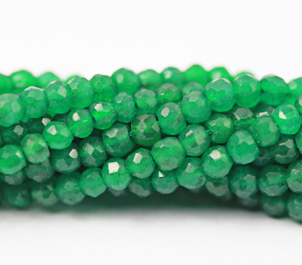 Emerald Green Faceted Jade Rondelle Beads Strand, 13 inches, 4mm, SKU6582A - Jewels Exports