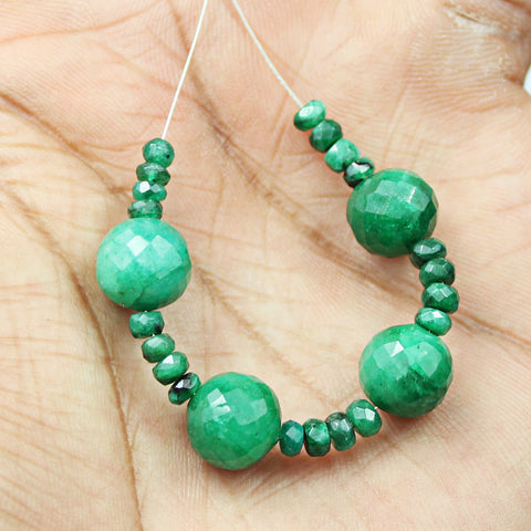 24 beads - 4-10mm - 100% Natural green emerald faceted round Ball & roundel beads DB9 - Jewels Exports - 1