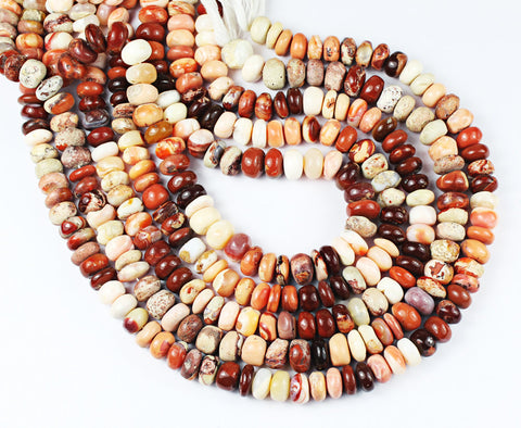 Natural Mexican Opal Smooth Roundel Beads Strand, 14 Inches, 8-9mm, SKU7451/A - Jewels Exports