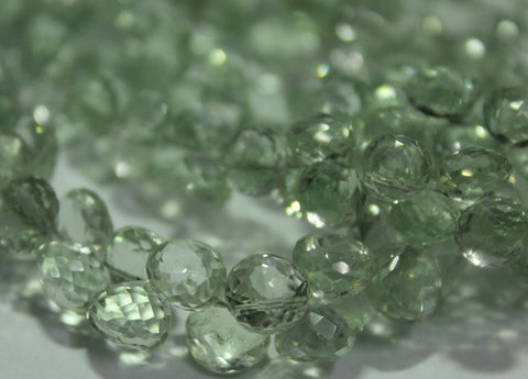 Green Amethyst Faceted Onion Beads Strand, 8 inches, 8mm, SKU177/J - Jewels Exports