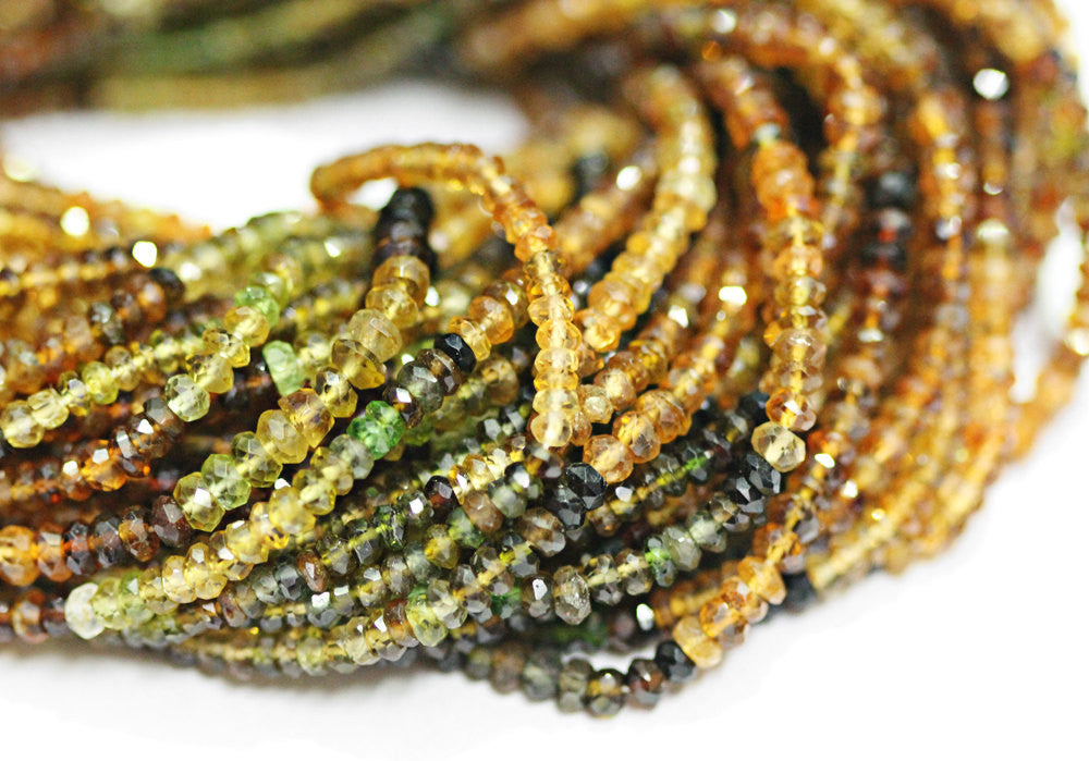 Bead, Petrol Tourmaline (Natural), 3mm faceted Roundel, B- Grade, Mohs Hardness 7, Sold Per 14nch Strand - SKU1681/J - Jewels Exports