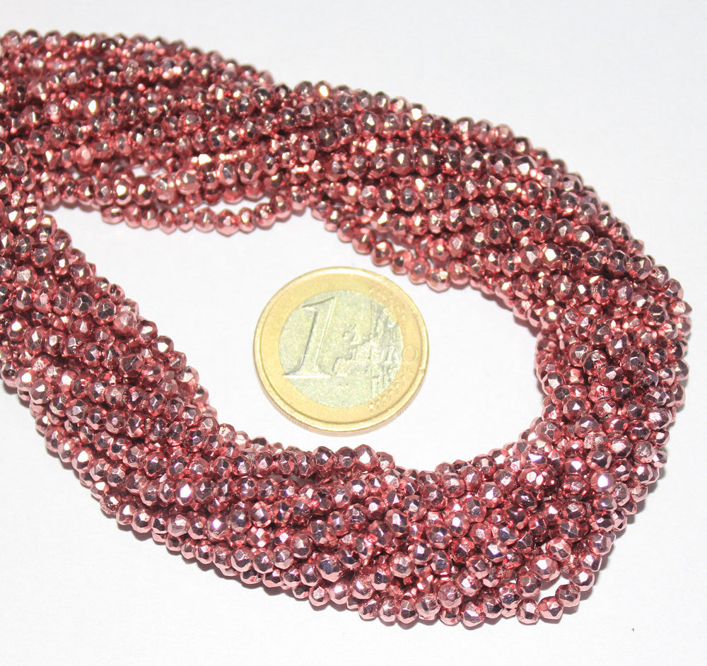 Natural Magenta Coated Pyrite Micro Faceted Roundel Bead Strand, 13 inches, 3.5mm, SKU6656/J - Jewels Exports