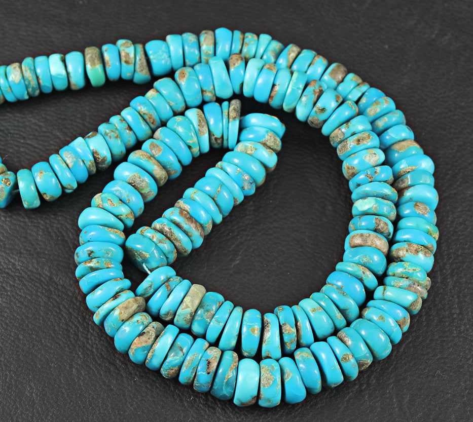 Arizona Turquoise Smooth Polished Heishi Wheel Beads, 20 inches, 5-10mm, SKU3485/J - Jewels Exports