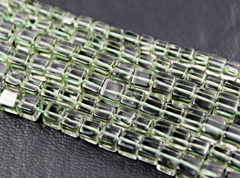 Green Amethyst Smooth 3d Cube Box Beads Strand, 6 beads, 5.5-6mm, SKU1117/J - Jewels Exports