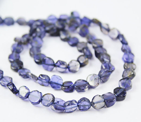 14 Inches - 4-5mm - Natural Blue Iolite Smooth Round Coin Beads Strand,SKU5488/S - Jewels Exports - 1