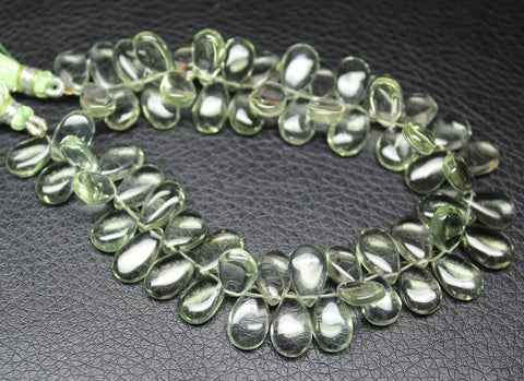 Beads, Green amethyst (natural), 11-12mm hand polish smooth pear drop, A grade, Mohs hardness 7. Sold per 4 inch strand SKU1105A - Jewels Exports
