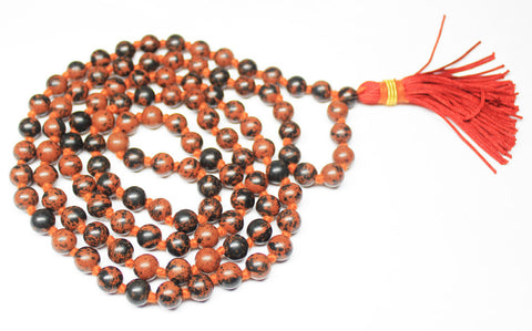 108 Bead - Natural 8mm Marconi Obsidian Smooth Polished Round Sphere Prayer Beads Strand,SKU9570 - Jewels Exports