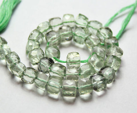 Green Amethyst Faceted Cube Box Beads Strand, 5 inches, 7mm, SKU7118/J - Jewels Exports