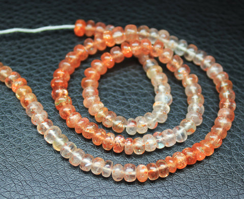 Bead, Fruit Quartz (natural), 4mm smooth Roundel, A grade, Mohs hardness 6, Sold per 14 inch strand SKU1338A - Jewels Exports