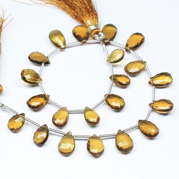 Beads, Beer quartz (natural), 8.5-13mm hand-cut faceted pear drop, A grade, Mohs hardness 7. Sold per 8-inch strand SKU1354/J - Jewels Exports
