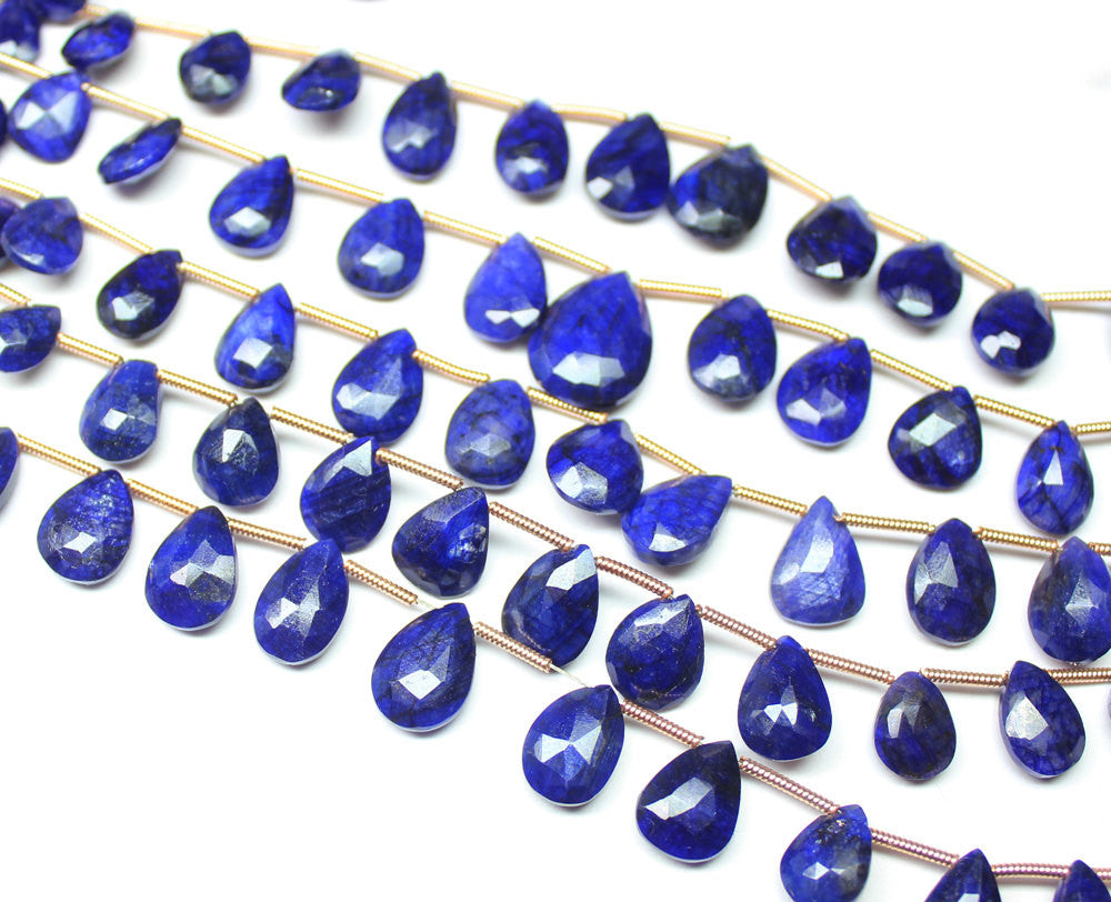 Bead, Blue Sapphire (natural), 7-12mm hand-cut faceted Pear Drops, B grade, Mohs hardness 9, Sold per 8-inch strand SKU1589S - Jewels Exports