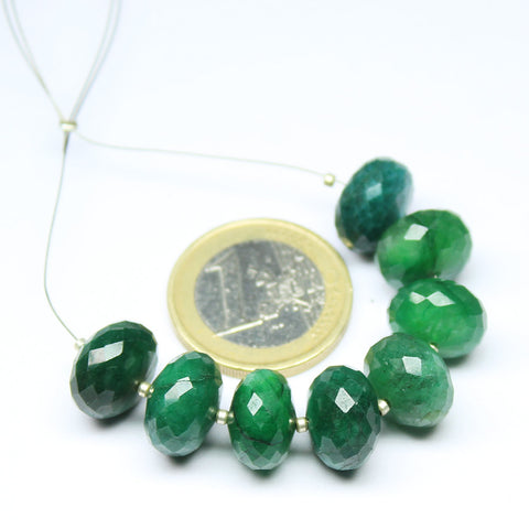 Beads, Green Emerald (natural), 12-12.5mm hand-cut faceted roundel, A grade, Mohs hardness 7. Sold per 8 beads strand SKU1577 - Jewels Exports - 1