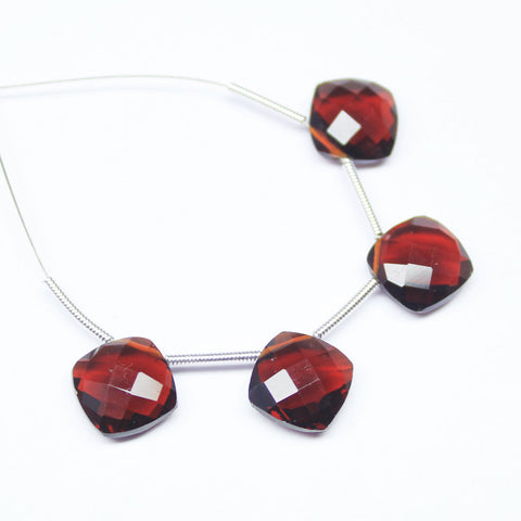 Red Garnet Quartz Faceted Cushion Gemstone Beads, 1 pair, 8mm, SKU/D - Jewels Exports