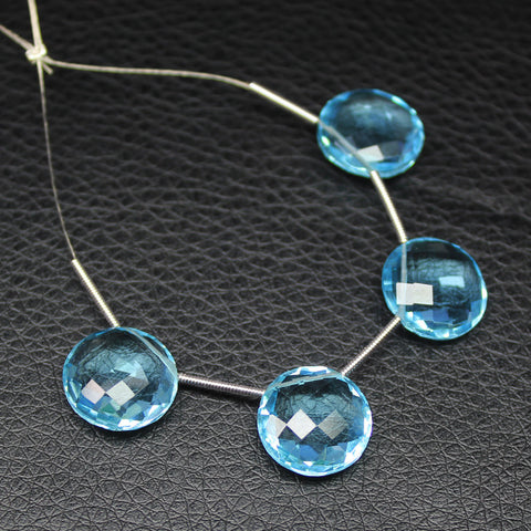 Sky Blue Topaz faceted coin beads pair, 3 pairs, 12mm, SKU2568A - Jewels Exports