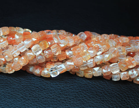 Strawberry Quartz Faceted Cube Box Beads Strand, 6 inches, 6mm, SKU6284/J - Jewels Exports