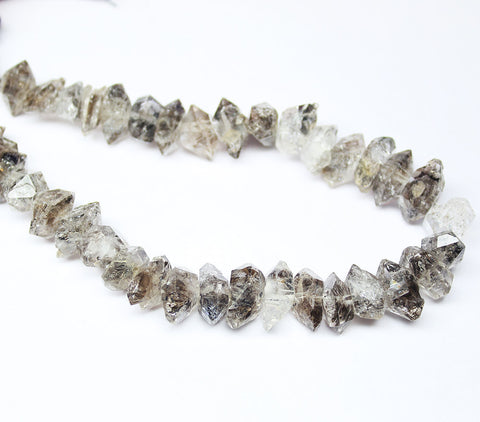 Herkimer Diamond Quartz  Faceted Double Termination Beads Strand, 13-17mm, 8 inches, SKU1576A - Jewels Exports