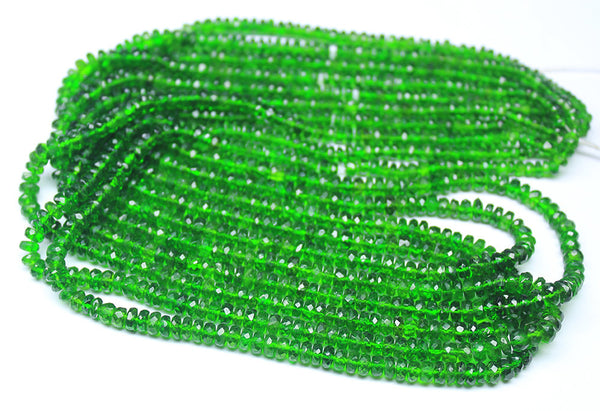 Chrome Green Diopside Micro Faceted Rondelle Beads Strand, 17 inches, 3-5mm, SKU5040/F - Jewels Exports
