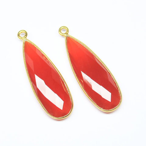 Charm, Red Onyx (Pear), 34mm handmade 925 sterling silver rim station. Sold per 1 piece. SKU2924 - Jewels Exports