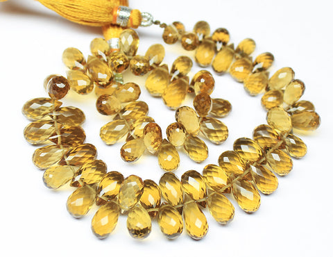 Beads, Beer quartz (natural), 9-14mm hand-cut faceted tear drops, AAA grade, Mohs hardness 7. Sold per 7-inches SKU5382/S - Jewels Exports