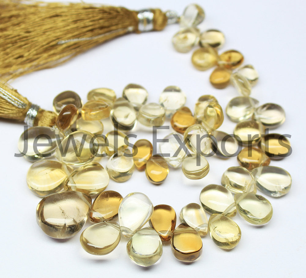Beads, Lemon quartz (natural), 8-11mm hand-polish smooth pear drop briolette, A grade, Mohs hardness 7. Sold per 4-inch strand SKU3361/S - Jewels Exports