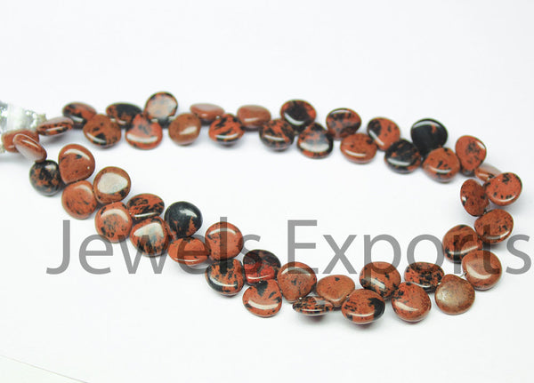 Beads, Marconi Obsidian (natural), 7mm hand-polish smooth heart, A grade, Mohs hardness 5-6. Sold per 6 beads SKU3367A - Jewels Exports