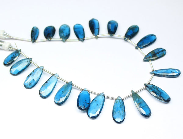 Bead, Royal Kyanite (natural), 9-18mm faceted pear drops, A grade, Mohs hardness 6.5-7.5, Sold per 8-inch strand SKU4269A - Jewels Exports
