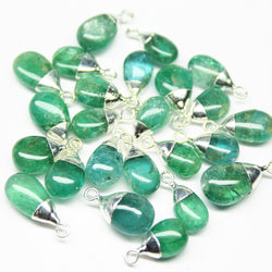Charm, Natural Green Emerald (Pear), 12mm, 925 sterling silver bezel charm pendant. Sold per 1 pc. SKU4250 - Jewels Exports