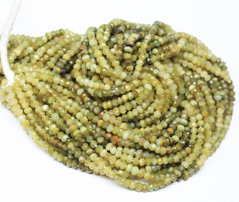 Bead, Cat's Eye (natural), 3mm faceted roundel, A grade, Mohs hardness 6, Sold per 14 inch strand SKU4338A - Jewels Exports