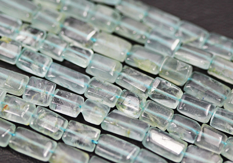 Natural Aquamarine Smooth Polished Rectangle Beads Strand, 14 inches, Size 5-7mm, SKU211A - Jewels Exports