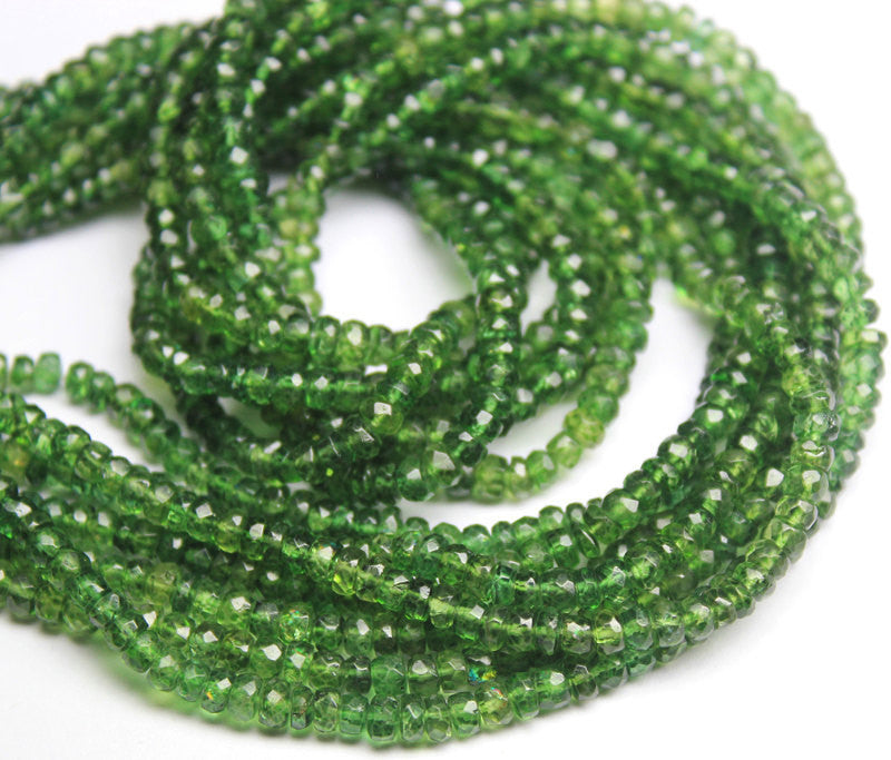 Green Apatite Faceted Rondelle Beads Strand, 14 inches, 3.5-4.5mm, SKU7301/A - Jewels Exports