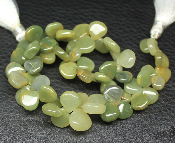 Cat's Eye Smooth Polished Heart Drops Briolette Beads, 8 inches, 7-9mm, SKU4833A - Jewels Exports