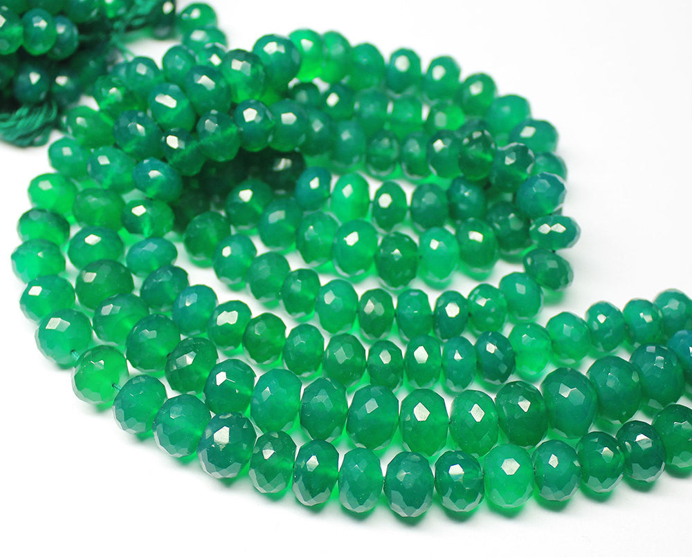 13 Inches, 8-9mm, Natural Green Onyx Faceted Rondelle Beads Strand, SKU5363A - Jewels Exports