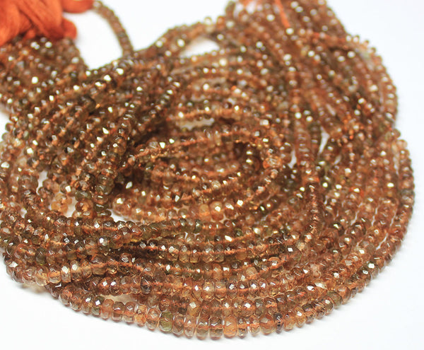 7 inches, 4-5mm, Natural Andalusite Faceted Rondelle Beads Strand, SKU5691A - Jewels Exports