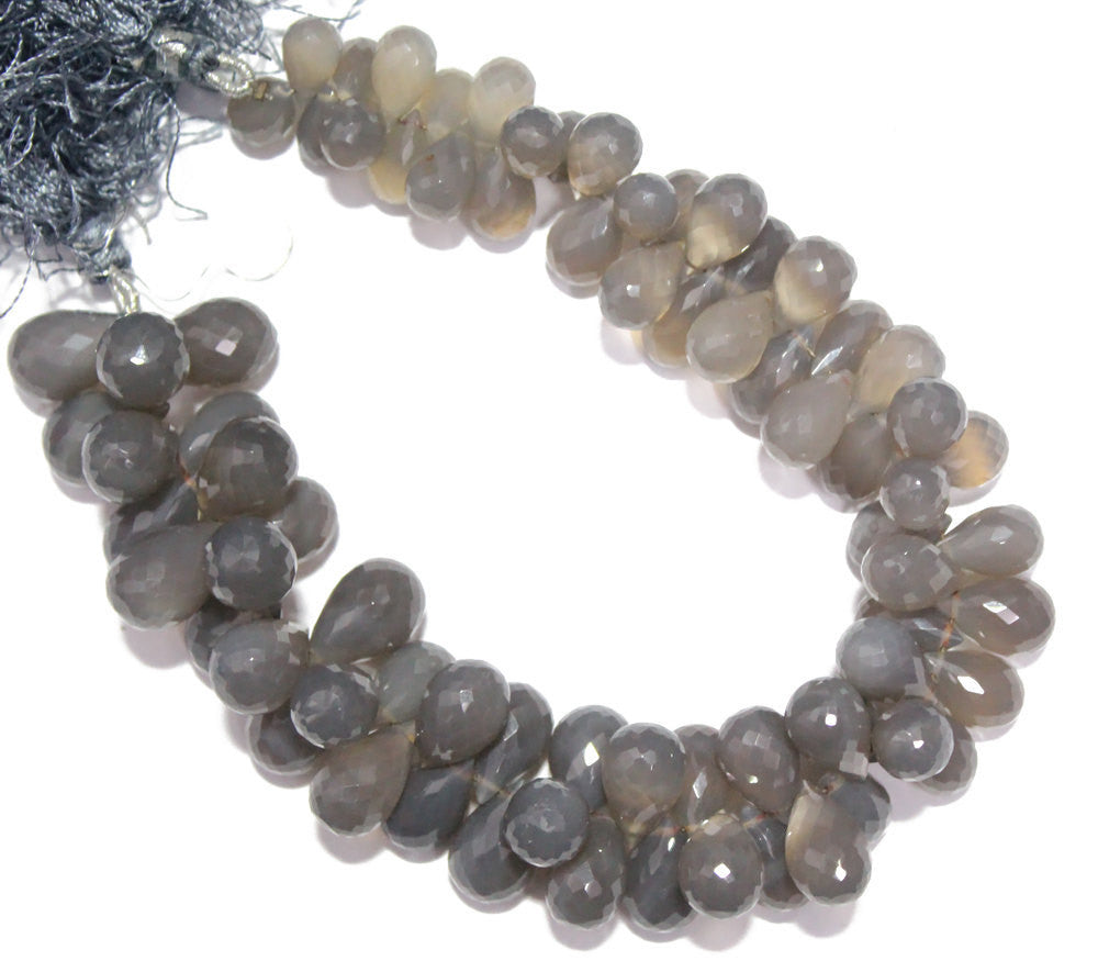 Grey Chalcedony Micro Faceted Tear Drop Briolette Beads Strand, Pairs, SKU6151A - Jewels Exports
