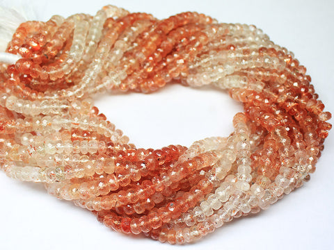 14 Inches, 5.5-6.5mm, Natural Sunstone Faceted Roundel Beads Strand, SKU126/S - Jewels Exports