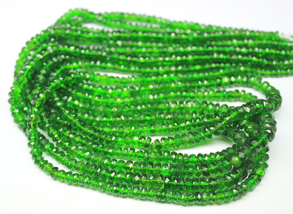 Natural Green Chrome Diopside Faceted Rondelle Beads, 16 inches, 3-4mm, SKU5009/J - Jewels Exports