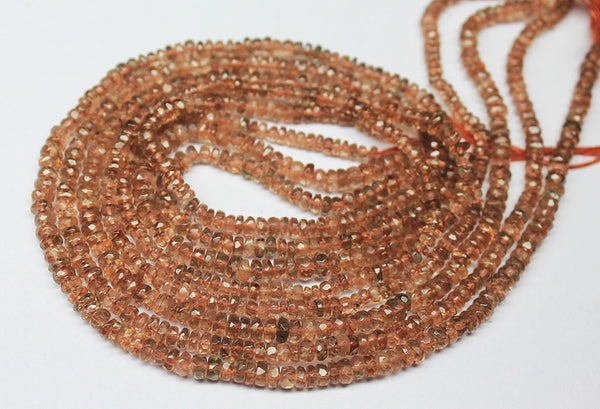 14 inches, 3mm, Natural Andalusite Faceted Rondelle Beads Strand, SKU7088A - Jewels Exports